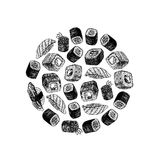 Hand drawn background with sushi and rolls. Vector sketch. Hand drawn background with sushi and rolls. Retro sketches isolated. Circle sushi. Linear graphic stock illustration