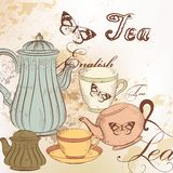 Hand drawn background with tea in vintage style Royalty Free Stock Photography