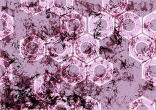 Hand drawn background with tools. Abstract grunge violet banner with screw nuts. Stock Image