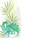 Hand-drawn background with watercolor dinosaur, ferns and palm l Stock Images