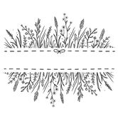 Hand drawn background with wild herbs ad flowers. Art hand drawn background with wild herbs ad flowers and place for text vector illustration