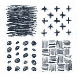 Hand drawn backgrounds set with crosses, dots, and scratch marks. Vector illustration Royalty Free Stock Images