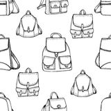 Hand drawn Backpack background. Stock Image