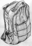 Hand drawn backpack. Hand drawn pencil sketch of a backpack with two zippers and two external pockets Royalty Free Stock Photography