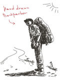 Hand drawn backpacker Stock Images