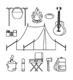 Hand Drawn Backpacking Icons Set Royalty Free Stock Image