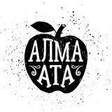 Hand drawn badge with apple textured vector illustration and lettering. Royalty Free Stock Photography