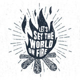 Hand drawn badge with bonfire vector illustration and lettering. Stock Photography