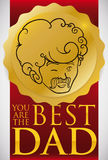 Hand Drawn Badge and Ribbon for Dad in his Day, Vector Illustration. Poster with golden badge given to the best dad with a red ribbon in Father`s Day celebration stock illustration