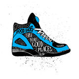 Hand drawn badge with sneakers textured vector illustration. Stock Image