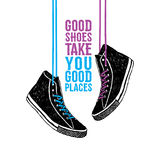 Hand drawn badge with sneakers textured vector illustration Stock Photo