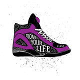 Hand drawn badge with sneakers textured vector illustration Stock Photos