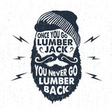 Hand drawn badge with textured face with beard vector illustration and lettering. Stock Image