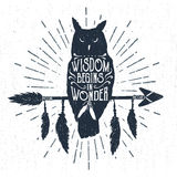 Hand Drawn Badge With Owl Vector Illustration And Lettering. Stock Photography