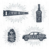 Hand drawn badges set with saw, whiskey bottle, fir tree cone, and pickup truck illustrations. Hand drawn vintage badges set with textured saw, whiskey bottle Stock Image
