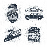 Hand Drawn Badges Set With Bearded Face, Pickup Truck, Chainsaw, And Plaid Shirt Illustrations. Stock Image