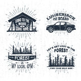 Hand drawn badges set with wooden cabin, pickup truck, saw, and spruce forest illustrations. Stock Images