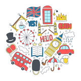Hand drawn badges with United Kingdom symbols - bus crown cloud hat flag umbrella cup of tea, red telephone box Tower Stock Photo