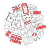 Hand drawn badges with United Kingdom symbols - bus crown cloud hat flag umbrella cup of tea, red telephone box Tower Royalty Free Stock Photo