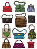 Hand drawn bags. Collection of hand drawn womens handbags and purses Royalty Free Stock Images