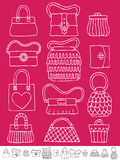 Hand drawn bags. Collection of hand drawn womens handbags and purses on pink Royalty Free Stock Photography