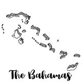 Hand drawn of The Bahamas map,  illustration Royalty Free Stock Images