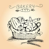 Hand drawn bakery in the basket Royalty Free Stock Images