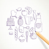 Hand Drawn Bakery Elements Royalty Free Stock Image