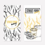 Hand drawn bakery flyers. Street food creative banner.Wheat barrels, cofee, donut, waffles, paper bag. engraved vector. Illustration. For restaurant, menu Stock Images