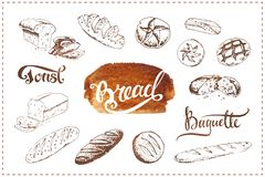 Hand drawn bakery icons set. Vector food sketches royalty free illustration