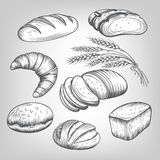 Hand drawn bakery icons set Stock Image