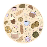 Hand drawn bakery products Royalty Free Stock Image