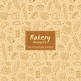 Hand drawn bakery products seamless pattern. Hand drawn seamless pattern of bread and bakery products. Baked goods background. Vector illustration Royalty Free Stock Photography