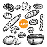 Hand Drawn Bakery Set Stock Photos