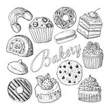 Hand Drawn Bakery Sweets Desserts Doodle  Royalty Free Stock Image