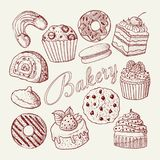 Hand Drawn Bakery Sweets Desserts Doodle.   Royalty Free Stock Photo