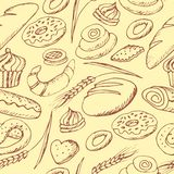 Hand drawn bakery on white background. Seamless pattern background Royalty Free Stock Photos