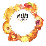 Hand drawn baking round frame Royalty Free Stock Images