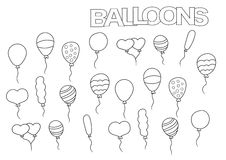 Hand drawn balloons set. Coloring book page template.