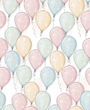 Hand Drawn Balloons Vector Pattern. Pastel Colors. Watercolor Style Design. Flying Balloons. Pink, Blue, Yellow and Gree Mint Ball vector illustration