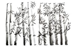 Hand drawn bamboo leaves and branch set, ink painting. Traditional dry calligraphic brush painting. isolated on white background. Hand drawn bamboo leaves and stock photography