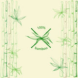 Hand drawn bamboo leaves with crossed stems. As 100% bamboo symbol on bamboo background.Vector illustration in eps8 format Stock Image