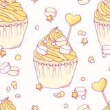 Hand drawn banana cupcake seamless pattern Royalty Free Stock Photos