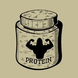 Hand drawn bank with Protein. Sport Nutrition Stock Photo