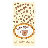 Hand drawn banner with brown sugar and round frame with cup Stock Photo