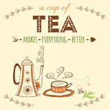 Hand drawn banner with hand lettering. Tea it's like a hug in a cup. Vector tea quote.  Royalty Free Stock Photography