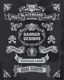Chalkboard banner and ribbon design set Stock Images