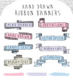 Hand drawn banner and ribbon vector design set Stock Images