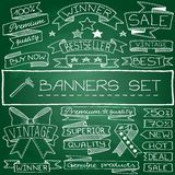 Hand drawn banner and tag icons Stock Photo
