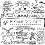 Hand drawn banner and tag icons Royalty Free Stock Photos